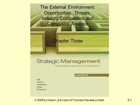 © 2006 by Nelson, a division of Thomson Canada Limited.3-1 The External Environment: Opportunities, Threats, Industry Competition and Competitor Analysis.