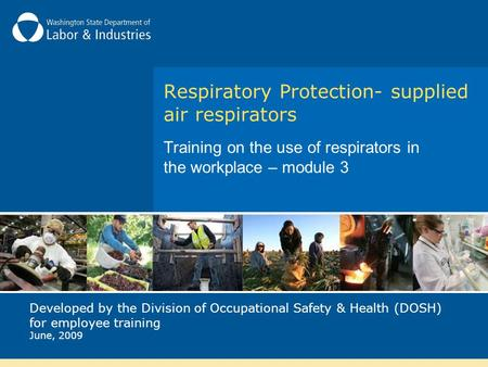 Respiratory Protection- supplied air respirators Training on the use of respirators in the workplace – module 3 Developed by the Division of Occupational.