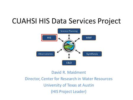 CUAHSI HIS Data Services Project David R. Maidment Director, Center for Research in Water Resources University of Texas at Austin (HIS Project Leader)