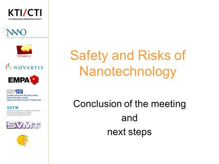 TOP NANO 21 Safety and Risks of Nanotechnology Conclusion of the meeting and next steps.