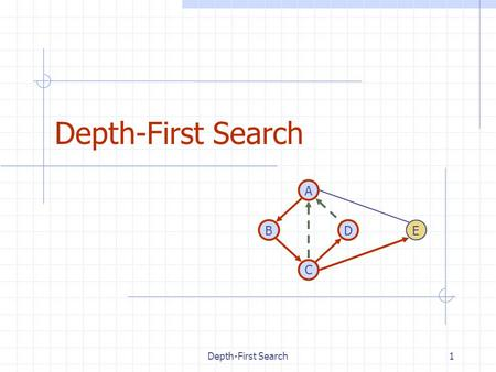 Depth-First Search1 DB A C E. 2 Outline and Reading Definitions (§6.1) Subgraph Connectivity Spanning trees and forests Depth-first search (§6.3.1) Algorithm.