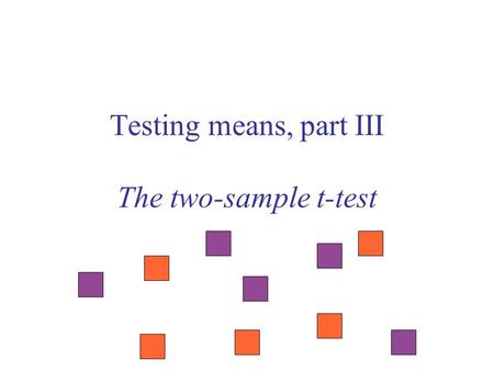 Testing means, part III The two-sample t-test. Sample Null hypothesis The population mean is equal to  o One-sample t-test Test statistic Null distribution.