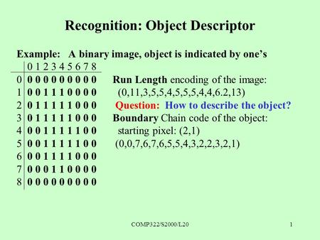 COMP322/S2000/L201 Recognition: Object Descriptor Example: A binary image, object is indicated by one's 0 1 2 3 4 5 6 7 8 0 0 0 0 0 0 0 0 0 0Run Length.