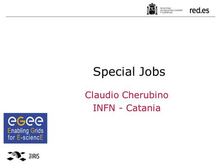 Special Jobs Claudio Cherubino INFN - Catania. 2 MPI jobs on gLite DAG Job Collection Parametric jobs Outline.
