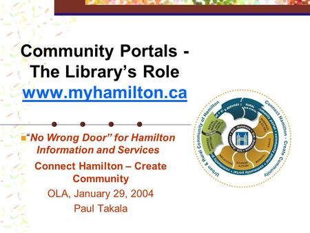 "Community Portals - The Library's Role www.myhamilton.ca Connect Hamilton – Create Community OLA, January 29, 2004 Paul Takala ""No Wrong Door"" for Hamilton."