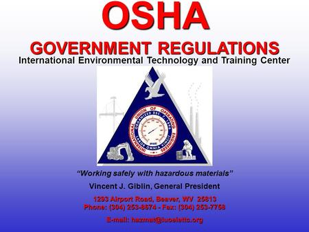 OSHA GOVERNMENT REGULATIONS