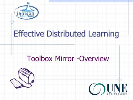 Toolbox Mirror -Overview Effective Distributed Learning.