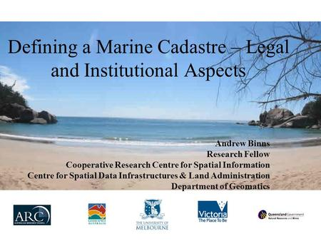 Defining a Marine Cadastre – Legal and Institutional Aspects