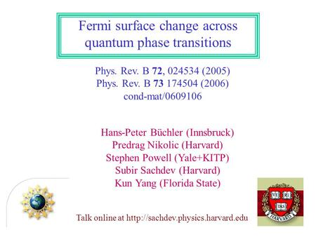 Fermi surface change across quantum phase transitions Phys. Rev. B 72, 024534 (2005) Phys. Rev. B 73 174504 (2006) cond-mat/0609106 Hans-Peter Büchler.