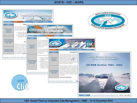 CBS Expert Team on Integrated Data Management – WMO - 15-18 December 2003 ACSYS – CliC – IACPO.