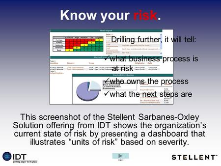 Know your risk. This screenshot of the Stellent Sarbanes-Oxley Solution offering from IDT shows the organization's current state of risk by presenting.