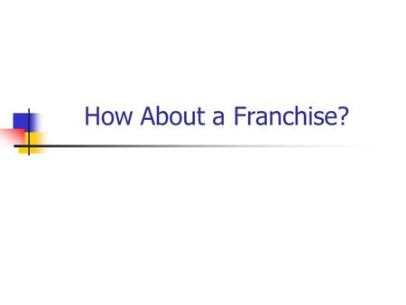 How About a Franchise?. Types of Franchises Product Distribution Arrangements Business Format Franchises Single-unit franchise Area franchise Master franchise.