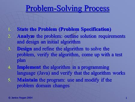 © Janice Regan 2004 1 Problem-Solving Process 1. State the Problem (Problem Specification) 2. Analyze the problem: outline solution requirements and design.