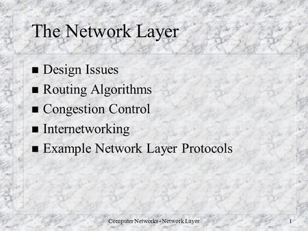 Computer <strong>Networks</strong> - <strong>Network</strong> <strong>Layer</strong>