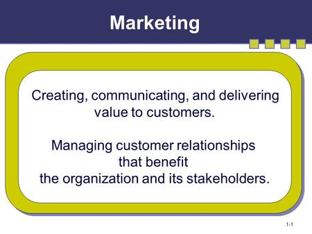 Marketing 1-1 Creating, communicating, and delivering value to customers. Managing customer relationships that benefit the organization and its stakeholders.