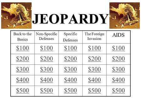 JEOPARDY Back to the Basics Non-Specific Defenses Specific Defenses The Foreign Invasion AIDS $100 $200 $300 $400 $500.