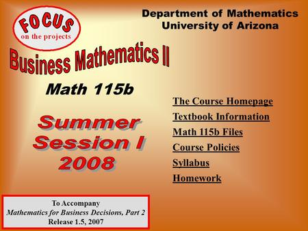 The Course Homepage Textbook Information Math 115b Files Course Policies Syllabus Homework Title Department of Mathematics University of Arizona To Accompany.
