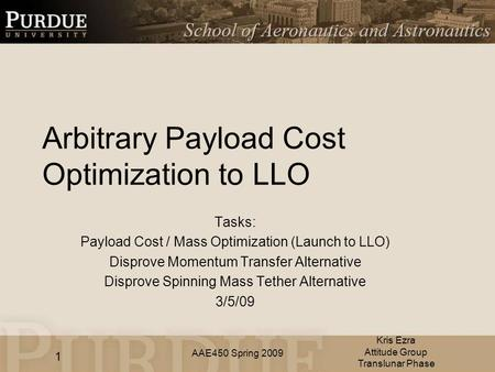 AAE450 Spring 2009 Arbitrary Payload Cost Optimization to LLO Tasks: Payload Cost / Mass Optimization (Launch to LLO) Disprove Momentum Transfer Alternative.