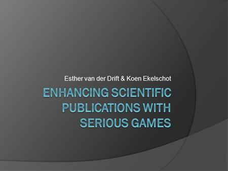 Enhancing Scientific publications with serious games