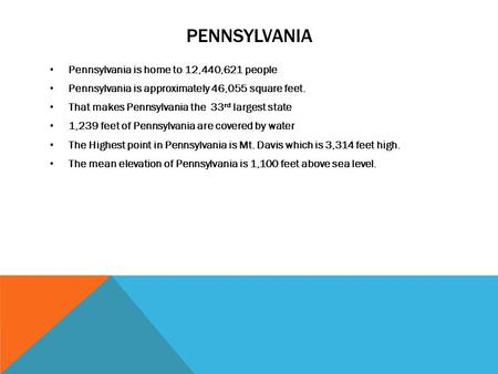PENNSYLVANIA Pennsylvania is home to 12,440,621 people Pennsylvania is approximately 46,055 square feet. That makes Pennsylvania the 33 rd largest state.