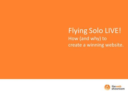 Flying Solo LIVE! How (and why) to create a winning website.
