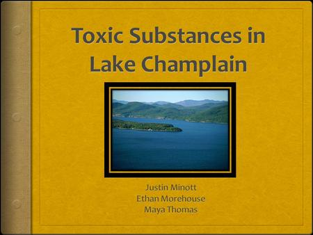 Goals  Determine which chemicals present (or potentially present) in the Lake Champlain basin would cause detrimental effects  Determine the pathways.