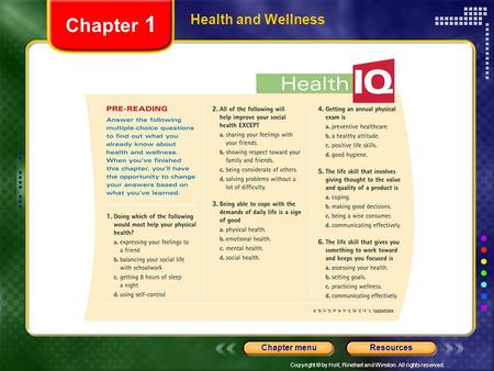 Chapter 1 Health and Wellness.