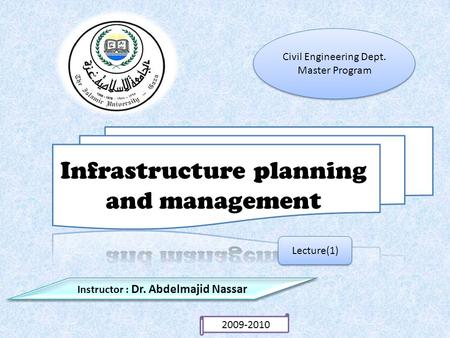 Lecture(1) Instructor : Dr. Abdelmajid Nassar Civil Engineering Dept. Master Program Civil Engineering Dept. Master Program 2009-2010.