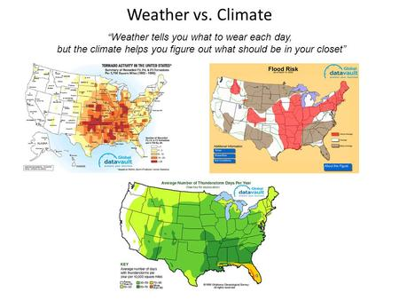 "Weather vs. Climate ""Weather tells you what to wear each day, but the climate helps you figure out what should be in your closet"""