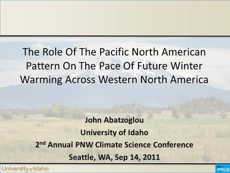 The Role Of The Pacific North American Pattern On The Pace Of Future Winter Warming Across Western North America.