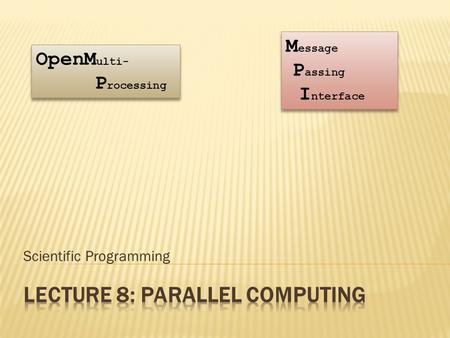 Scientific Programming OpenM ulti- P rocessing M essage P assing I nterface.