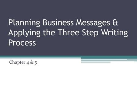 Planning Business Messages & Applying the Three Step Writing Process