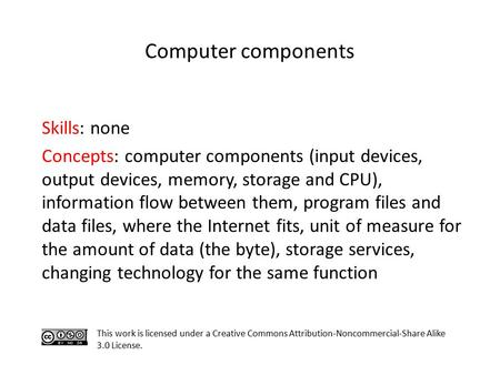<strong>Computer</strong> components Skills: none