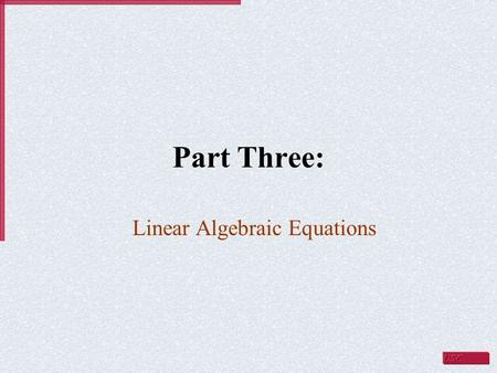 Linear Algebraic Equations