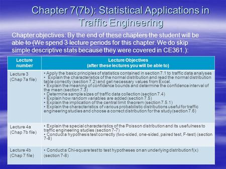 Chapter 7(7b): Statistical Applications in Traffic Engineering Chapter objectives: By the end of these chapters the student will be able to (We spend 3.