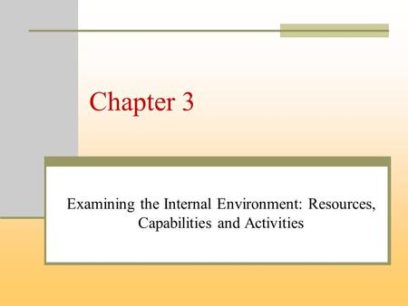Chapter 3 Examining the Internal Environment: Resources, Capabilities and Activities.