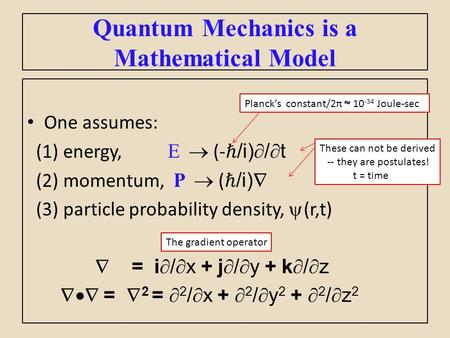 One assumes: (1) energy, E  (- ℏ /i)  /  t (2) momentum, P  ( ℏ /i)  (3) particle probability density,  (r,t)  = i  /  x + j  /  y + k  / 