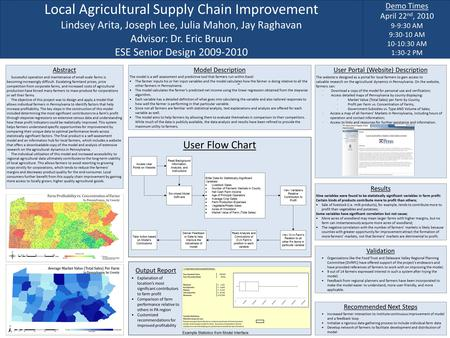 Local Agricultural Supply Chain Improvement Lindsey Arita, Joseph Lee, Julia Mahon, Jay Raghavan Advisor: Dr. Eric Bruun ESE Senior Design 2009-2010 Demo.