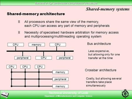 Technical University of Lodz Department of Microelectronics and Computer Science Elements of high performance microprocessor architecture Shared-memory.