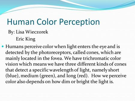 Human Color Perception