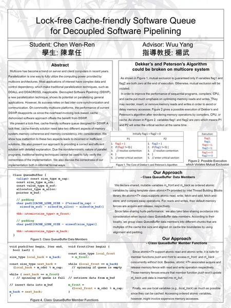 Lock-free Cache-friendly Software Queue for Decoupled Software Pipelining Student: Chen Wen-Ren Advisor: Wuu Yang 學生 : 陳韋任 指導教授 : 楊武 Abstract Multicore.