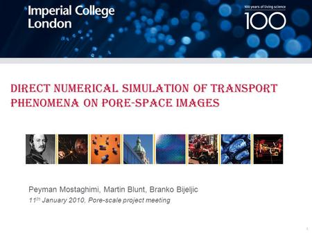 Peyman Mostaghimi, Martin Blunt, Branko Bijeljic 11 th January 2010, Pore-scale project meeting Direct Numerical Simulation of Transport Phenomena on Pore-space.