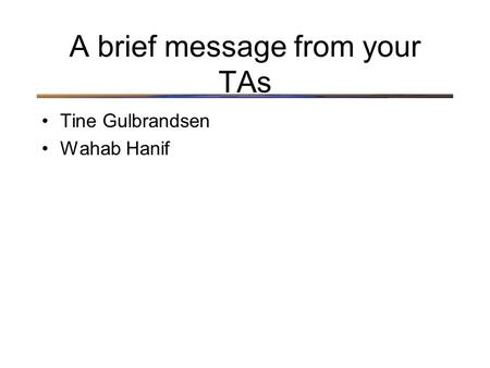 A brief message from your TAs Tine Gulbrandsen Wahab Hanif.