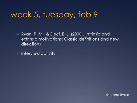 Week 5, tuesday, feb 9  Ryan, R. M., & Deci, E. L. (2000). Intrinsic and extrinsic motivations: Classic definitions and new directions  Interview activity.