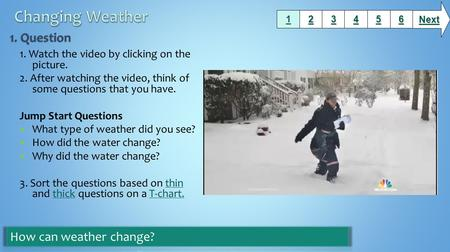 1. Watch the video by clicking on the picture. 2. After watching the video, think of some questions that you have. Jump Start Questions What type of weather.