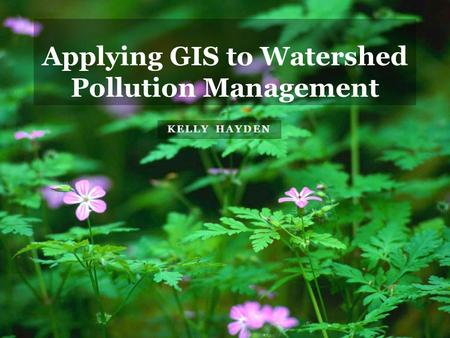 KELLY HAYDEN Applying GIS to Watershed Pollution Management.