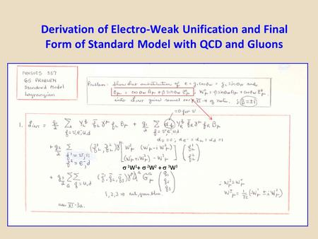 Derivation of Electro-Weak Unification and Final Form of Standard Model with QCD and Gluons  1 W 1 +  2 W 2 +  3 W 3.