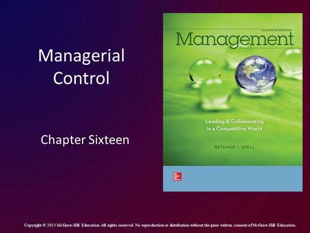 Managerial Control Chapter Sixteen
