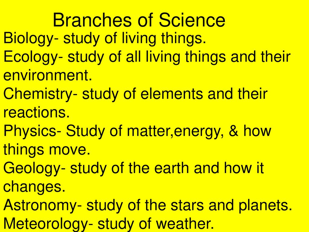 Branches Of Science Biology Study Of Living Things Ecology Study Of All Living Things And Their Environment Chemistry Study Of Elements And Their Ppt Download