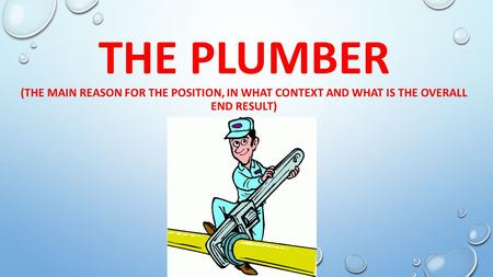 THE PLUMBER (THE MAIN REASON FOR THE POSITION, IN WHAT CONTEXT AND WHAT IS THE OVERALL END RESULT)